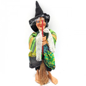 Witch of Alsace to hang with Broom and green fabrics 20 cm