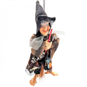 Witch of Alsace to hang with Broom and fabrics Brown 20 cm La Boite aux Trésors to Obernai