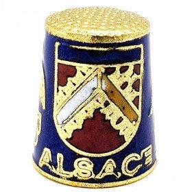 Dé à Coudre de Collection Bleu en Métal doré avec Écusson, Cigogne et Alsacienne