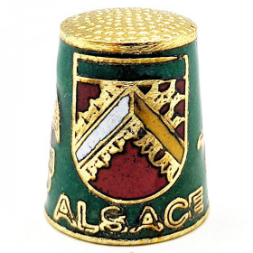 Green Collection Thimble in Golden Metal with Crest, Stork and Alsatian