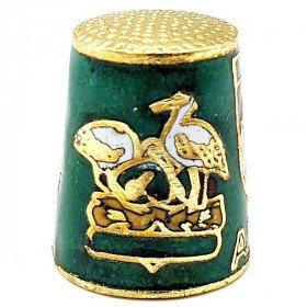 Dé à Coudre de Collection Vert en Métal doré avec Écusson, Cigogne et Alsacienne