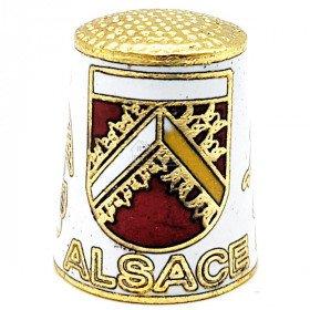 Fingerhut aus weißem Goldmetall Mit Wappen, Storch und Elsässer
