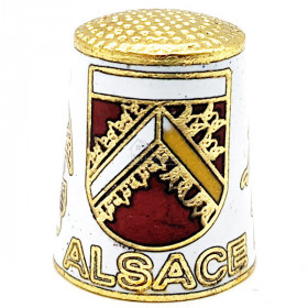 White Collection Thimble in Golden Metal with Crest, Stork and Alsatian