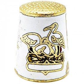 Dé à Coudre de Collection Blanc en Métal doré avec Écusson, Cigogne et Alsacienne