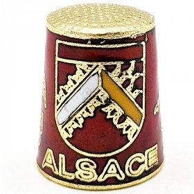Dé à Coudre de Collection Rouge en Métal doré avec Écusson, Cigogne et Alsacienne