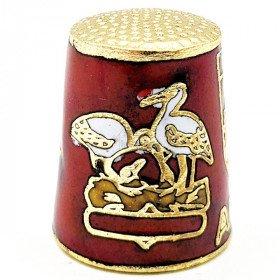 Fingerhut aus Rot Goldmetall Mit Wappen, Storch und Elsässer in La Boite aux