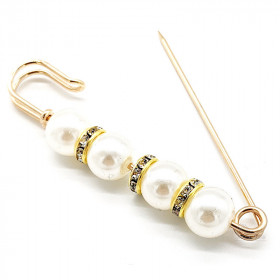 Weiße Perlen Gold Phantasie Kindermädchen Pin Brosche Set mit Strass in La