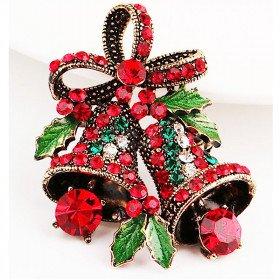 Broche dorée Fantaisie Cloches de Noël avec Strass