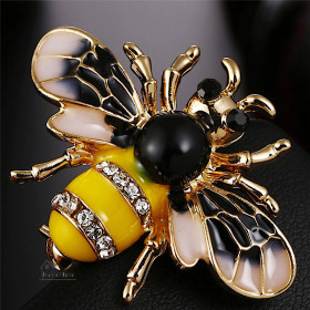 Goldene Fancy fliegende Biene Brosche mit Strass in La Boite aux Trésors in