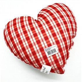 Cushion Heart 28 cm Lovely Elsa padded Gingham red La Boite aux Trésors to Obernai