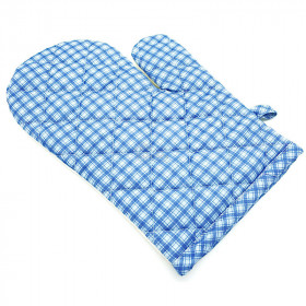 Lovely Alsace Gingham Blue Kitchen Glove