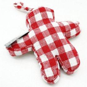 Bonhomme Mannele en Tissus Vichy rouge à suspendre