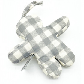 Bonhomme Mannele en Tissus Vichy gris à suspendre