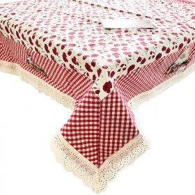Quadratische Tischdecke 90 cm x 90 cm Dekorieren Mohnblumen Vichy und Cigognes
