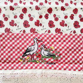 Square tablecloth 90 cm x 90 cm Décors Poppies Vichy and Cigognes