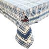 Quadratische Tischdecke 90 cm x 90 cm weiße Fliese und blaue gestickte Störche