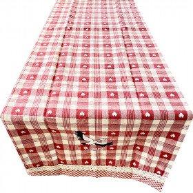 Tischläufer Elsass Vichy Bestickt Störche 40 cm x 150 cm