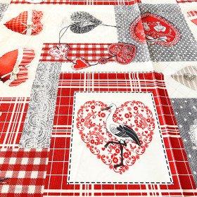 Rechteckige Tischdecke Dekor Patchwork Herzen und Störche aus Elsass 148 cm x