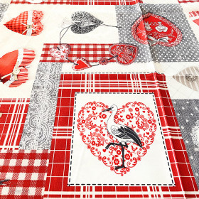 Rectangular tablecloth decor Patchwork Hearts and Storks of Alsace 148 cm x 240 cm