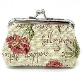 Brieftasche Rosa Musterverschluss in Tapisserie Blumen