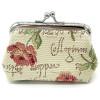 Porte Monnaie fermoir motif Rose en Fleurs en Tapisserie