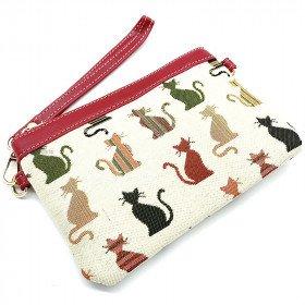 Handtasche Schultermuster Katzenfarben-Tapisserie