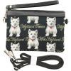 Umhängetasche mit Westie Hundemuster im Tapisserie Stil