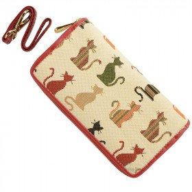 Brieftasche mit Riemen mit Katzenmotiv auf ecru Hintergrund, Tapisseriestil in