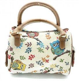 Kleine gemütliche Handtasche mit Eulendekoration, Tapisseriestil in La Boite