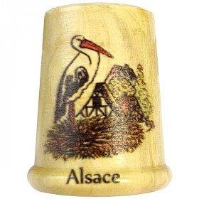 Dé à Coudre en Bois sérigraphié Nid de Cigognes et Alsace La Boite aux Trésors à Obernai