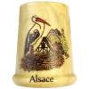 Dé à Coudre en Bois sérigraphié Nid de Cigognes et Alsace
