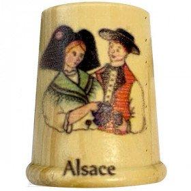 Dé à Coudre en Bois sérigraphié Couple d'Alsacien et Alsace