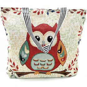 Large Summer Shoulder Bag Owl Owl Pattern in Canvas Tapestry Style