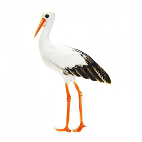 Golden brooch Fantasy stork on foot enamelled painting La Boite aux Trésors to Obernai