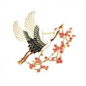 Goldener Pin Fantasy Storch im Flug Emaillierte Malerei in La Boite aux Trésors
