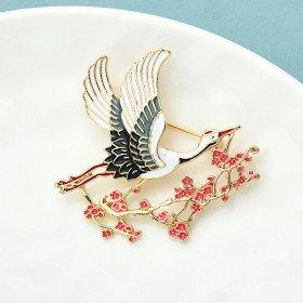 Golden Pin Fantasy Stork In Flight Enamelled Painting La Boite aux Trésors to Obernai