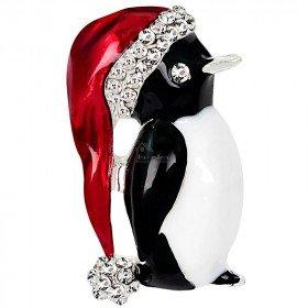 Broche dorée Fantaisie Pingouin Bonnet rouge sertie de Strass La Boite aux Trésors à