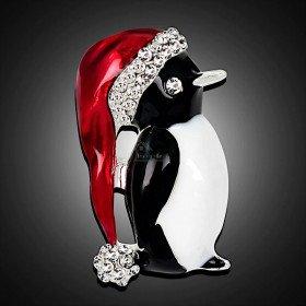 Fancy golden brooch Penguin red cap set with rhinestones La Boite aux Trésors to Obernai
