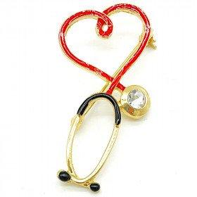 Broche dorée Fantaisie Stéthoscope avec Coeur Médecin sertie de Strass La Boite aux
