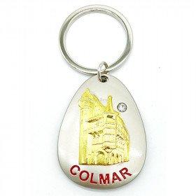 Storch Key Inhaber im Nest in Colmar und Strasssteinen