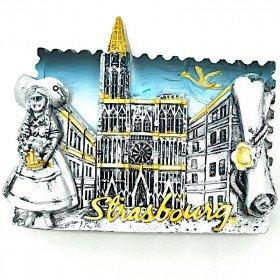 Magnet Décoratif Argenté Alsacienne et Cathédrale de Strasbourg La Boite aux Trésors à