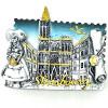 Magnet Décoratif Argenté Alsacienne et Cathédrale de Strasbourg