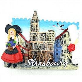 Elsatianer dekorativer Magnet und Straßburger Kathedrale