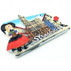Elsatianer dekorativer Magnet und Straßburger Kathedrale in La Boite aux