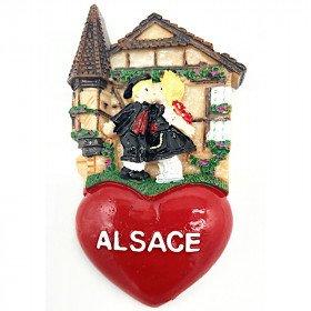 Magnet Décoratif Couple d'Alsacien et Coeur Alsace
