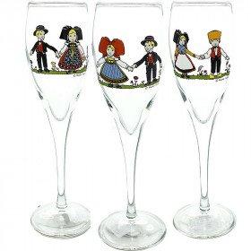 6 Flûtes à Champagne d'Alsace décor Hansi