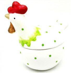 Hähnchen-Bonbonnière aus Keramik mit grünefarbenen Punkten
