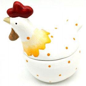 Poule en Céramique Bonbonnière à pois orange