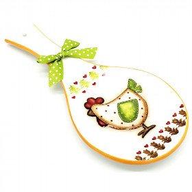 Repose Cuillère en Céramique décor Poule et Noeud