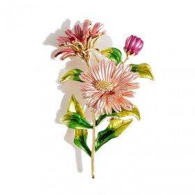 Goldene Brosche Ausgefallener Blumenstrauß in La Boite aux Trésors in Obernai